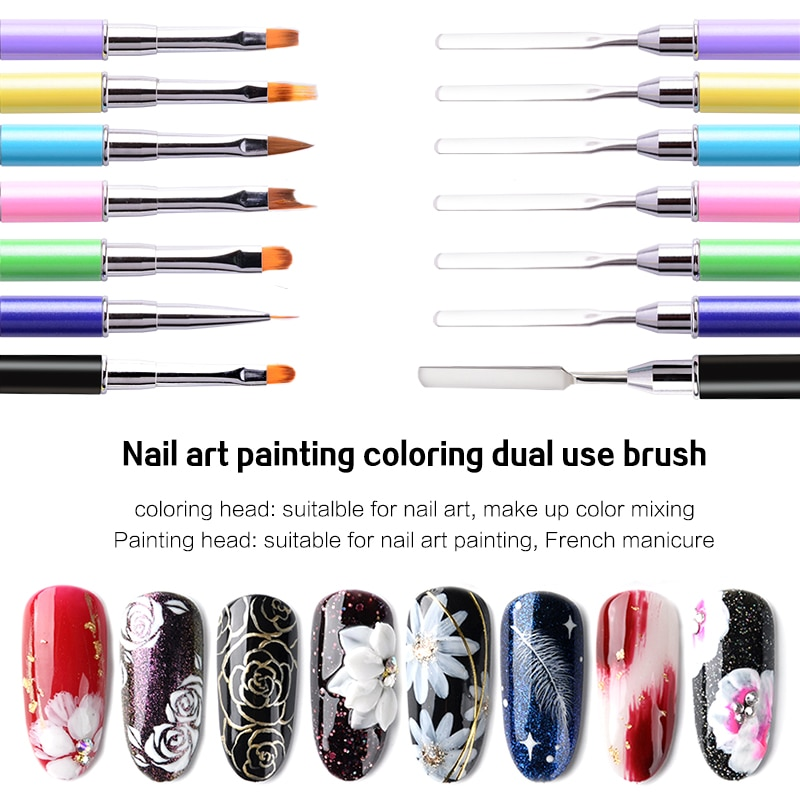 Pincel de pintura de uñas de doble cabeza colorido para pincel de pintura de uñas de Gel de polietileno pincel de dibujo de flores manicura