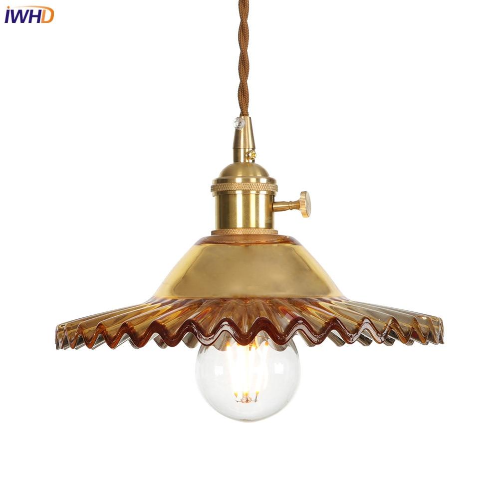 IWHD медные скандинавские светодиодные подвесные светильники LED винтажные подвесные лампы Переключатель Ретро промышленные подвесные свети...