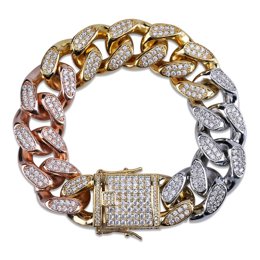TOPGRILLZ-أساور شبكية كوبية ، 18 مللي متر ، مجوهرات هيب هوب ، لون ذهبي وفضي ، مادة نحاسية مزججة تشيكوسلوفاكيا ، سلسلة ، 7