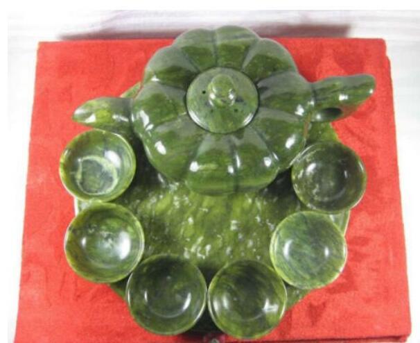 Manualidad China tallado JADE VERDE set de Tetera 1 olla 1 plato taza envío rápido