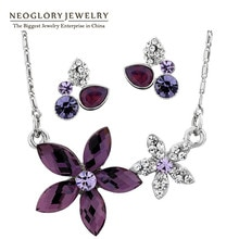 Neoglory kryształowy kwiat zestawy biżuterii ślubnej naszyjnik kolczyki zestaw indyjskiej biżuterii 2020 nowy urok marki prezenty urodzinowe