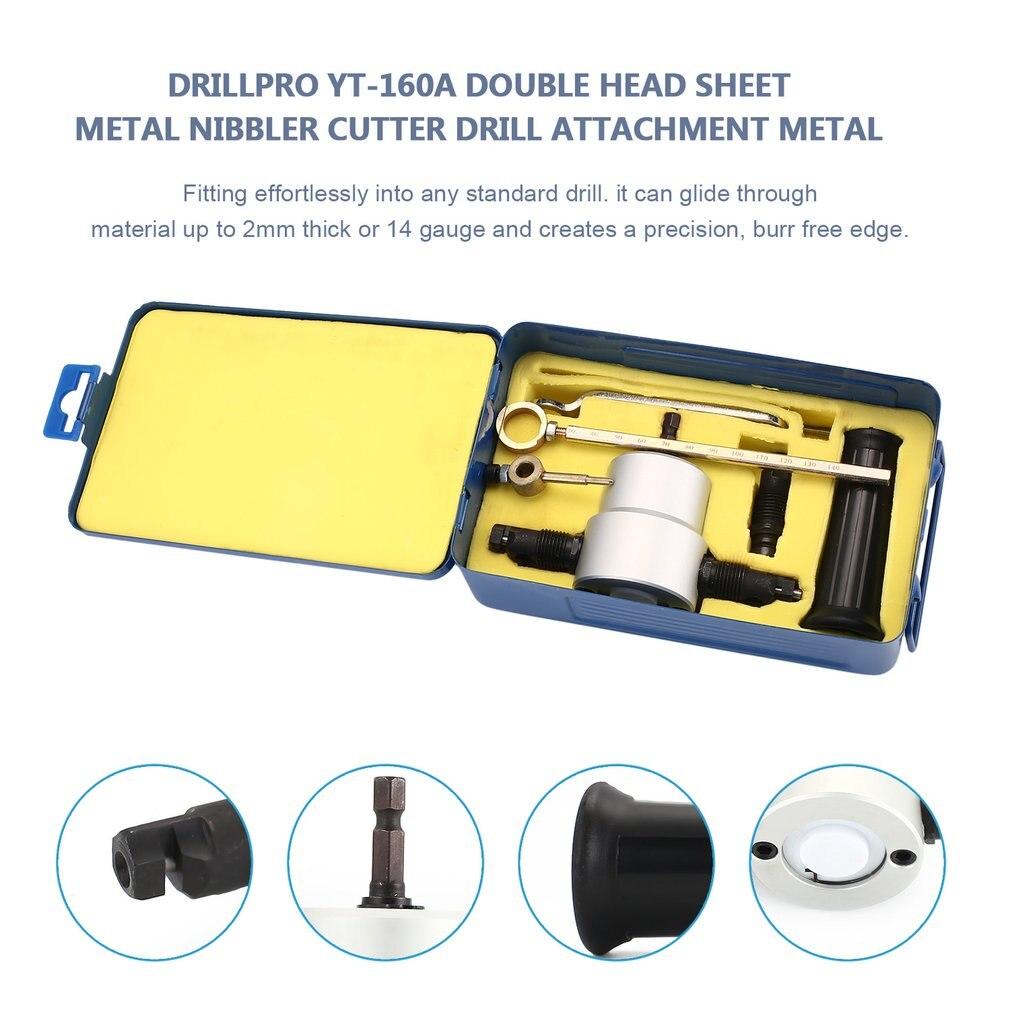 Drillpro-perceuse de tôle à Double tête, fraiseuse de tôle YT-160A, Kit de fixation pour perceuse des métaux avec clé et pièces