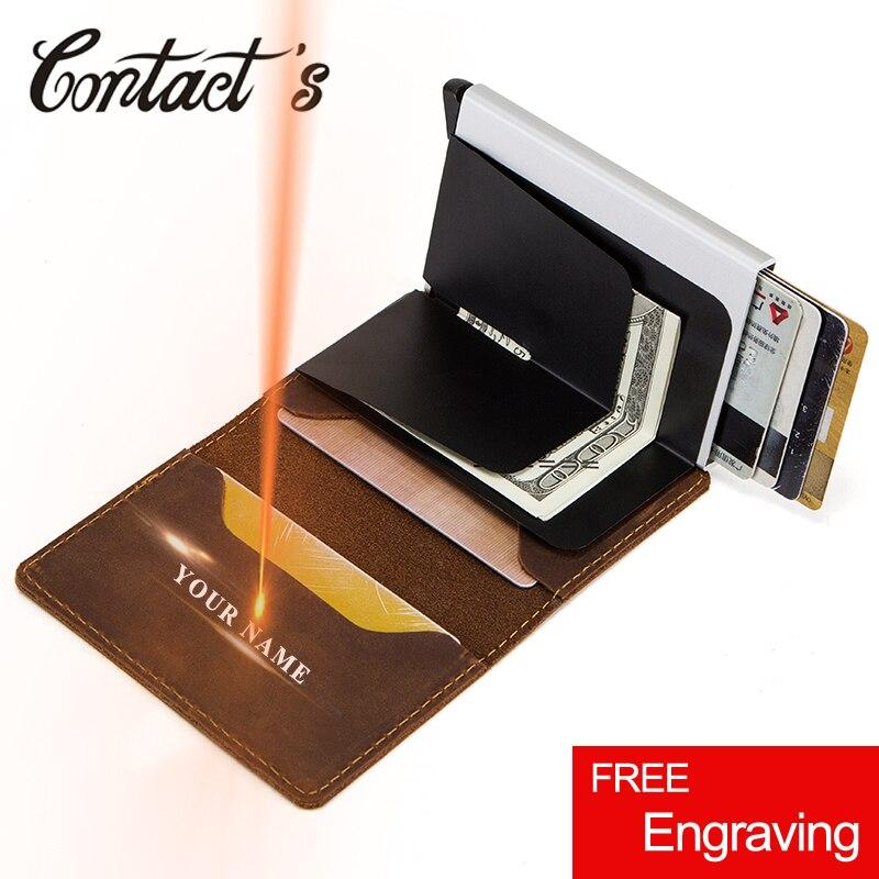 Titular do cartão de crédito do vintage carteira de couro genuíno caso de cartão de metal masculino alumínio bloqueio titular para cartões bolsa de viagem