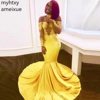 sexy yellow plus size evening gown dresses for wome 2021 mermaid long appliques slash neck elastic formal party full sleeves