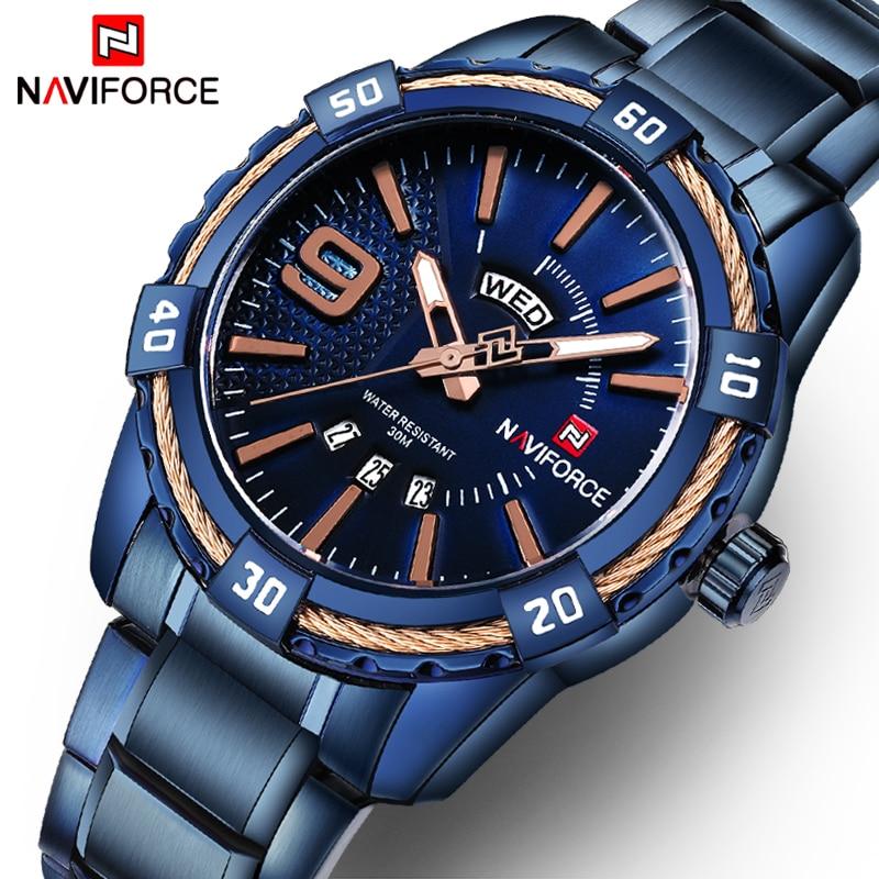 NAVIFORCE de moda casual de marca resistente al agua reloj de cuarzo militar los hombres de acero inoxidable relojes reloj hombre reloj Masculino