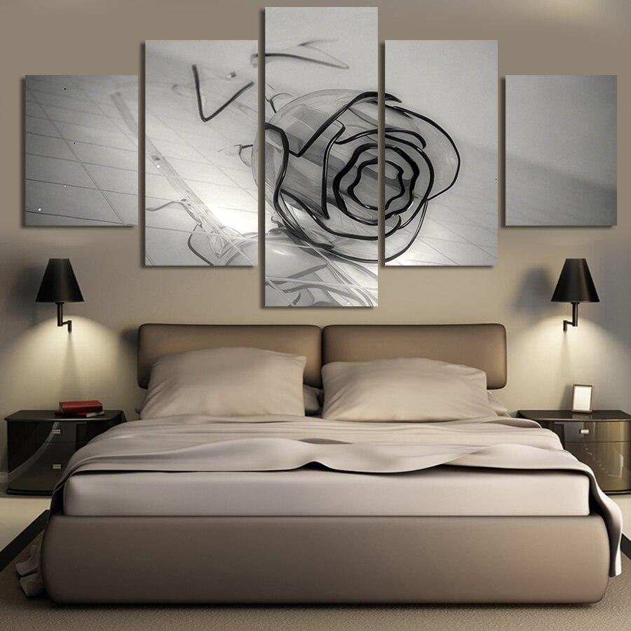 2017 nuevos 5 paneles de arte lienzo pintura arte de pared lienzo pinturas para pared de salón Cuadros negro lienzo Rosa imprime foto