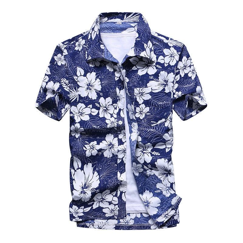 Beach Shirt Men 2020 Summer streetwear Short Sleeve Palm Tree Flower Print Hawaiian Shirts Holiday Party Fit Camisa Hawaiana 5XL
