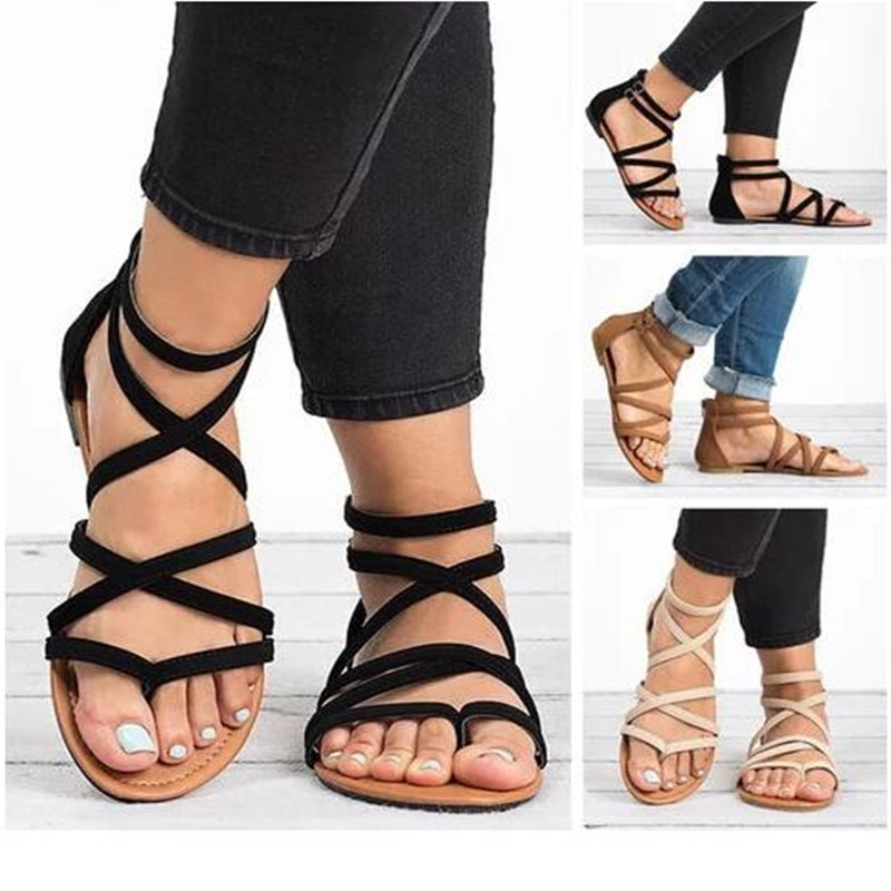 Летние вьетнамки; Сандалии-гладиаторы; Пляжные сандалии с перекрестными ремешками; Женская повседневная обувь без застежки на плоской подошве; Цвет черный, коричневый; Размеры плюс 34-43