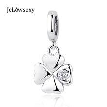 Authentic 925 prata esterlina grânulo de cristal sorte amor trevo pingente charme grânulos caber feminino pandora pulseiras jóias diy