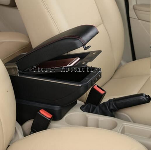 Center Console Storage Box Leather Dual Layer 2009-2017 Armrest Arm Rest For Ford Fiesta 2010 2011 2012 2013 2014 2015 2016 enlarge