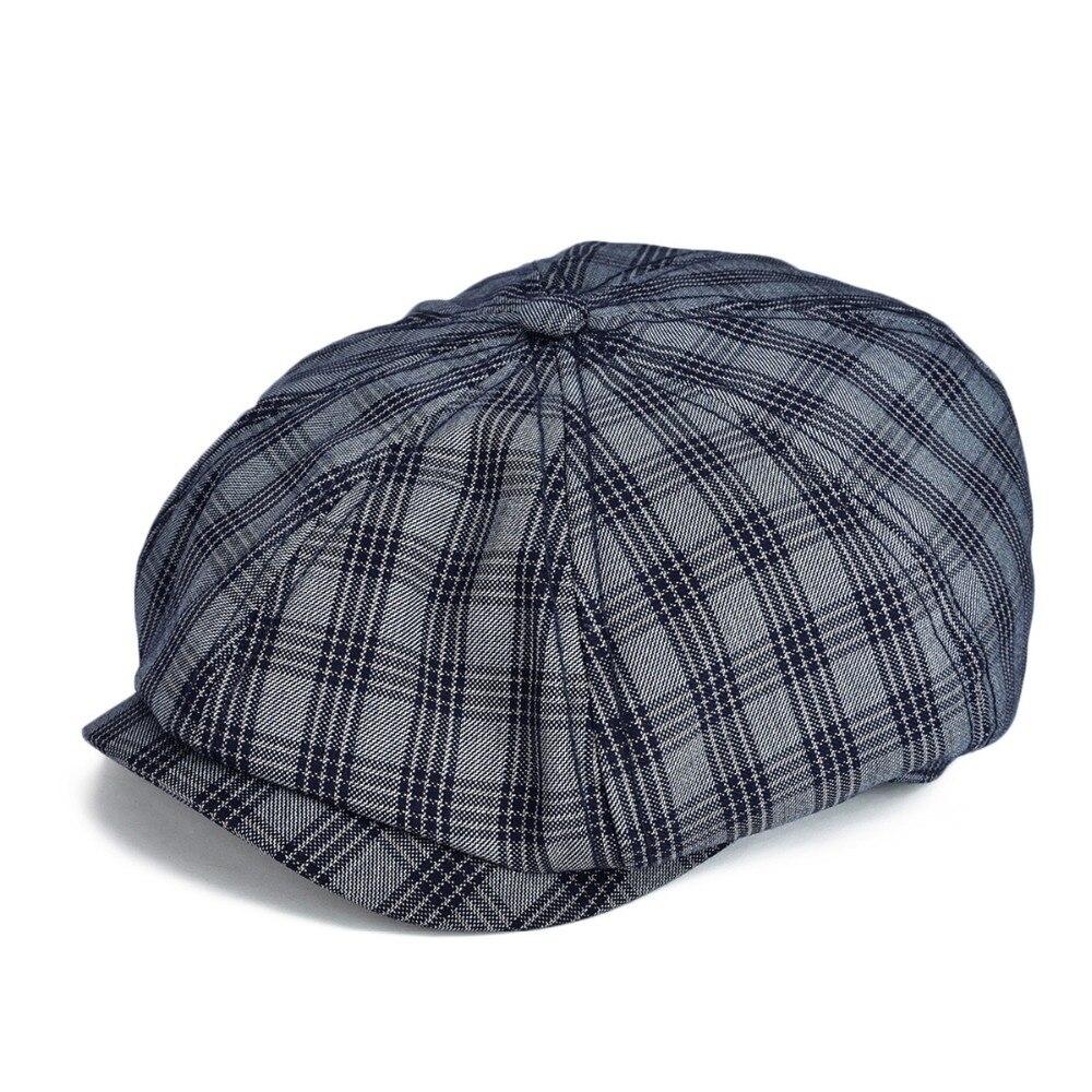 Voboom azul marinho boné liso homem grande xadrez newsboy bonés algodão cabbie hat verão respirável glof chapéus 103