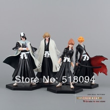 Livraison gratuite eau de javel Kurosaki Ichigo Kuchiki Byakuya PVC figurine modèle jouet poupée 4 pièces/ensemble BLFG014