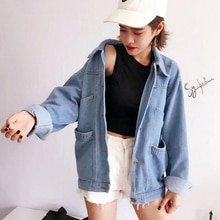 Spring Autumn Women Ladies Long Sleeve Punk Streetwear Harajuku Light Blue Basic Denim Jeans Coat Ca