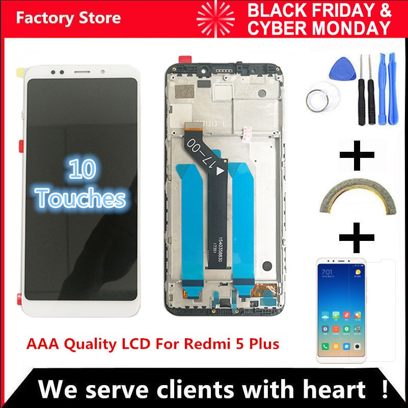 10-Touch AAA calidad LCD + marco para Xiaomi Redmi 5 Plus reemplazo de pantalla LCD para Redmi 5 Plus pantalla LCD Snapdragon 625