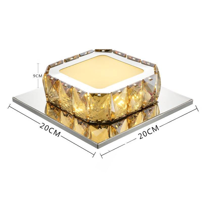 Moderno Simple Led de cristal de techo de la luz de la habitación de la luz del pasillo de la lámpara del hogar Luz de techo cuadrado