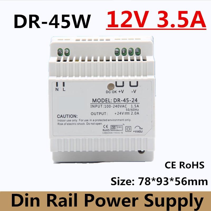 Transformador de fuente de alimentación montado en Riel Din DR-45-12, 45W, 110V,...