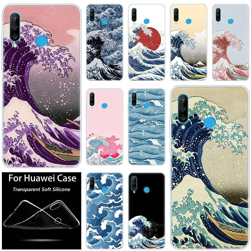 Caliente la gran ola de Kanagawa de silicona caso de Huawei P30 20 Pro 10 P9 P8 Lite 2017 P Smart Z Plus 2019 NOVA 5i 5 Pro