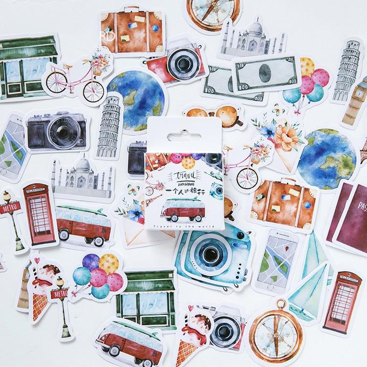 45PCS/PACK Kawaii Cute Travel Sticker Drawing Marker Planner Diary School Stationery Stickers Scrapbooking Bullet Journal sl1292
