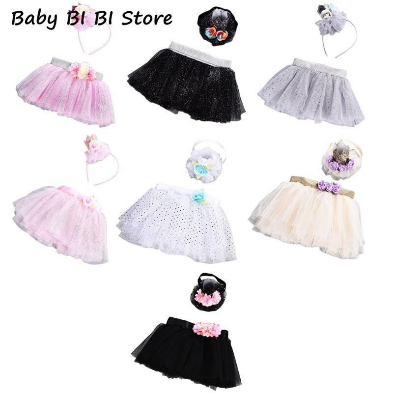 Faldas tutú mullidas para recién nacidos, falda de tul para niños y bebés con juego de diademas de flores, tutús para niños y bebés, falda Pettiskirt 0-3T