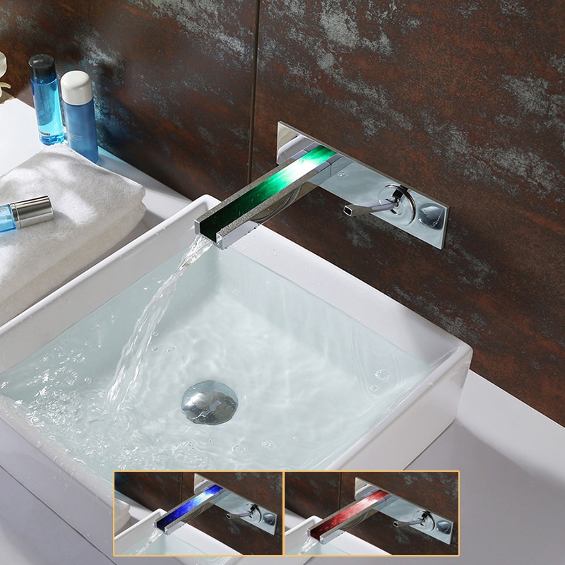 Montado en la pared LED cascada cuenca grifo latón cromo grifo de baño 3 Cambio de colores por temperatura movido por agua de alimentación