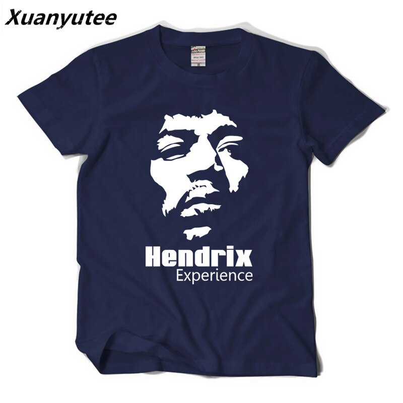 Camiseta Xuanyutee Hendrix Experience Pop Rock Fan para hombre, estampado de moda, cuello redondo, Manga corta 2XL, Camiseta de algodón azul marino para hombre