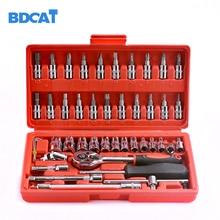 Bdcat outil de réparation de voiture 46 pièces 1/4 pouces jeu de douilles outil de réparation de voiture clé dynamométrique à cliquet ensemble doutils combinés Kit doutils de réparation automatique