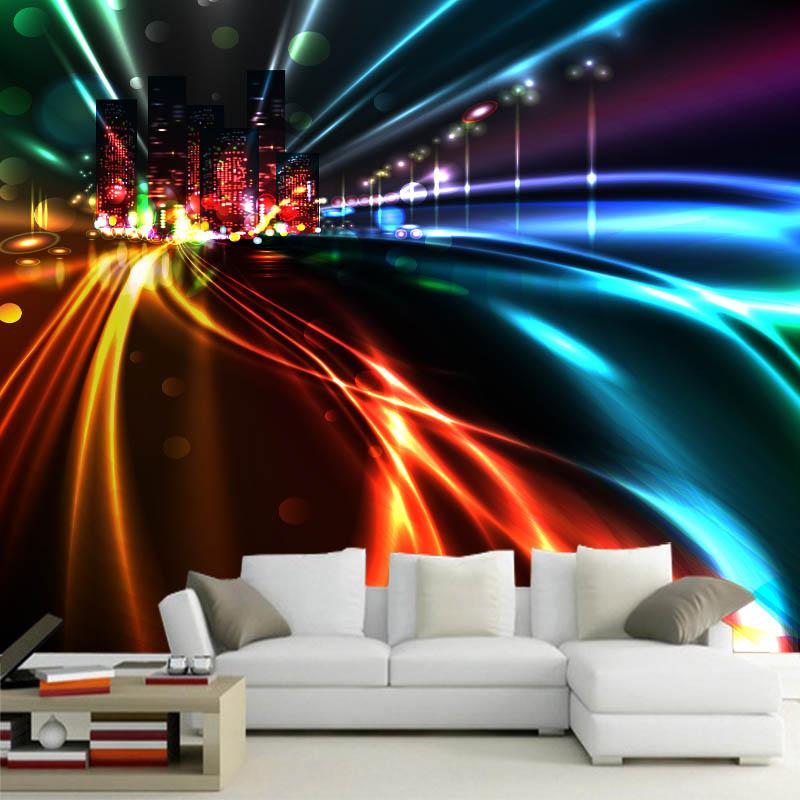 Personalizado 3d mural cidade noite vista mural sala de estar tv quarto tema do hotel ktv sofá pano de fundo cor luz néon papel parede mural