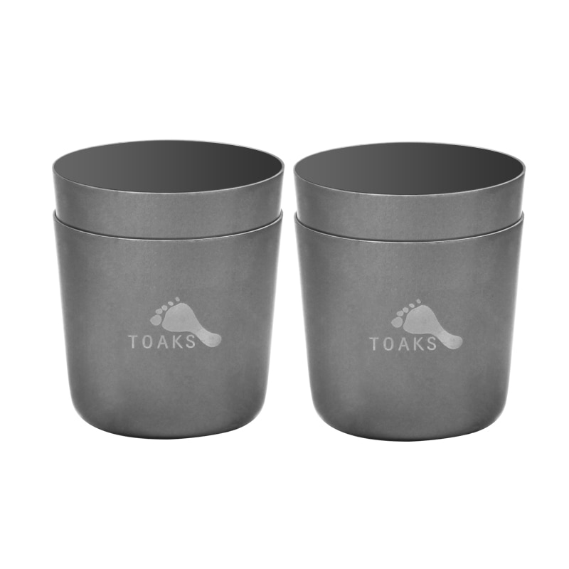 TOAKS 2-piezas 30ml Mini taza de té de titanio al aire libre de titanio taza de licor de vino