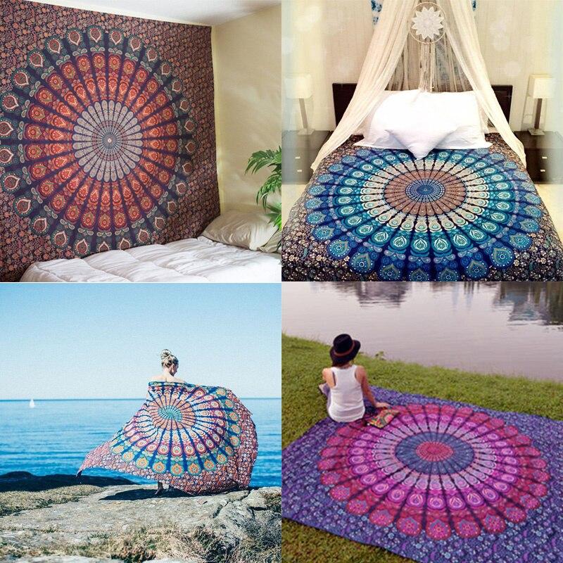 Enipate Indian Mandala Tapestry Hippie Home Decorative Wall Hanging Bohemia Beach Mat Yoga Mat Bedspread Table Cloth 210x148cm