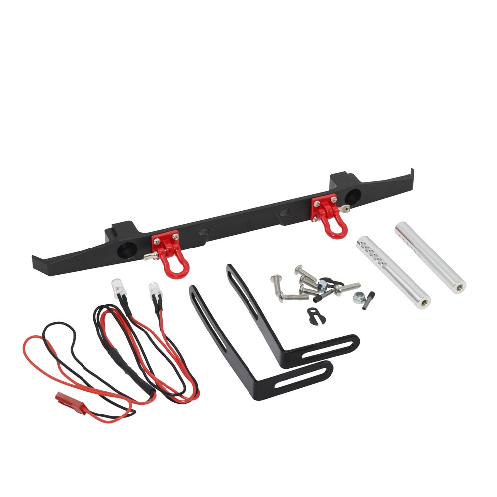 RC Metal Rear Bumper with Spare Tire Rack & Lights for Axial SCX10 & SCX10 II 90046 Traxxas TRX4 trx-4 enlarge