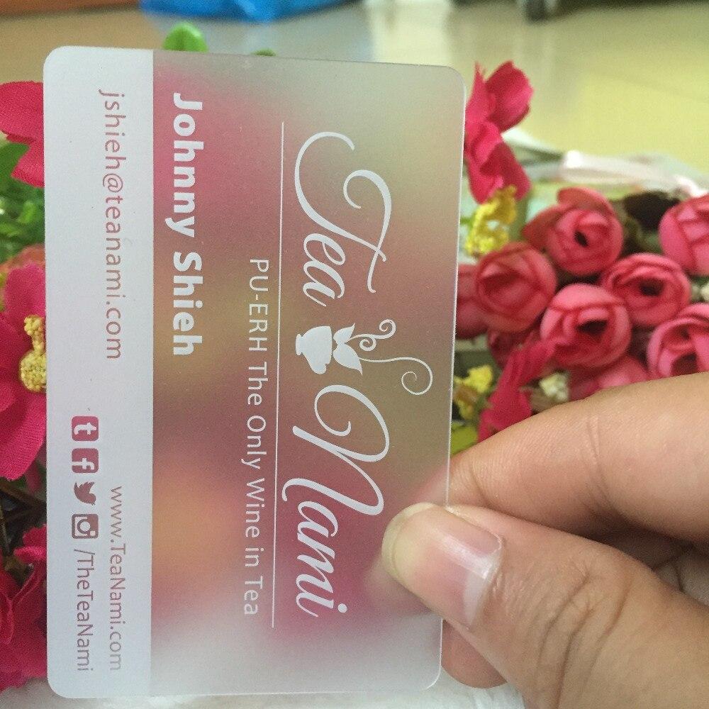 200 pièces/lot de cartes de visite à encre blanche personnalisées en PVC Transparent. Cartes de visite personnalisées. Impression de cartes de visite claires. Conception gratuite