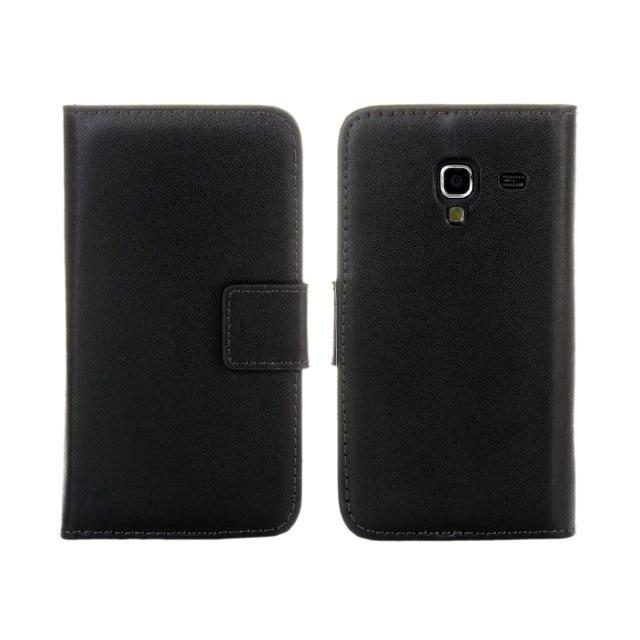 Funda de cuero genuino de alta calidad para Samsung Galaxy Ace 2 i8160 con estilo de libro y tarjetero para teléfono bolsa