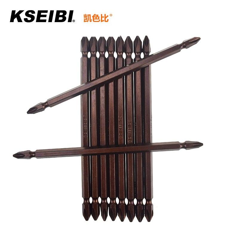 Destornillador eléctrico de doble cabeza de dureza KSEIBI 150MM cabeza cruzada PH2 tornillo Phillips bits paquete de 10 Color marrón recubierto #181362