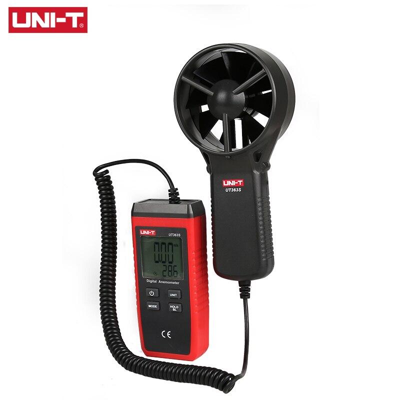 UNI-T UT363S Mini anemómetro LCD Pantalla de flujo de aire velocidad viento temperatura probador MAX/AVG medición viento Nivel 1 ~ 12