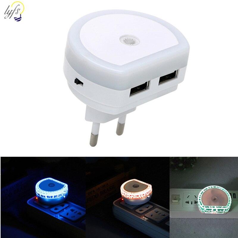 Светодиодный Ночной светильник с датчиком ЕС и США, двойной usb-порт, лампа для спальни, гостиной, коридора, ночные светильники