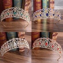 Baroque magnifique étincelant rouge bleu cristal diadèmes de mariée mariage Diamante Pageant couronnes de bal bandeaux pour les mariées bijoux de cheveux