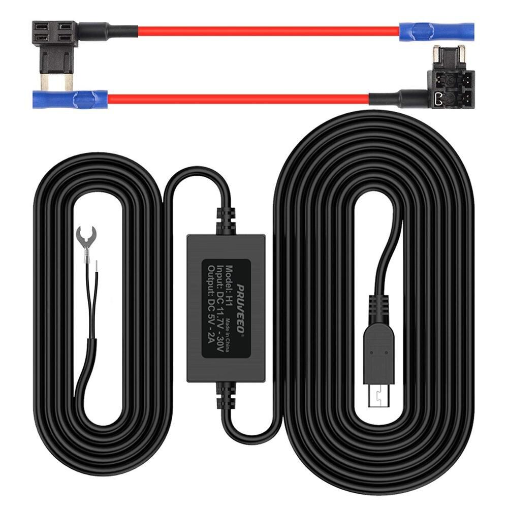 Pruveeo Kit de cableado para cámara de salpicadero con 2 fusible Cable DE toma Mini Puerto USB 12V a 5V DC 12 V-30 V cargador de coche Cable Kit