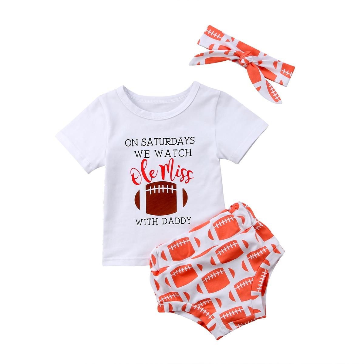Ropa informal de Rugby para niños y niñas con lazo y letras blancas, camisetas y pantalones cortos con diseño de Rugby, ropa de algodón para 3 uds.
