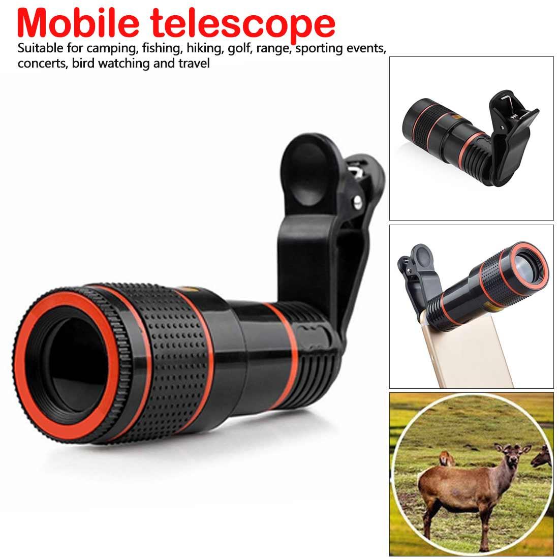 Lente Universal 12X teleobjetivo para teléfono móvil enfoque zoom telescopio cabeza HD externo Cámara 12 veces lente