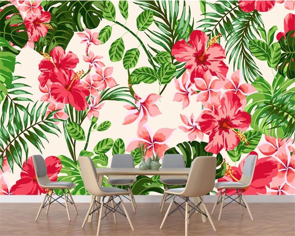 Fondo decorativo personalizado beibehang para el hogar, papel tapiz decorativo, planta de bosque fresco, hojas de palma floral, murales, papel tapiz