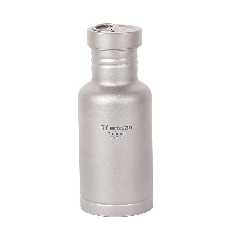 Спортивная бутылка Tiartisan из чистого титана для кемпинга, велоспорта, бутылка для воды с двумя крышками и пальто для бутылок Ta8387