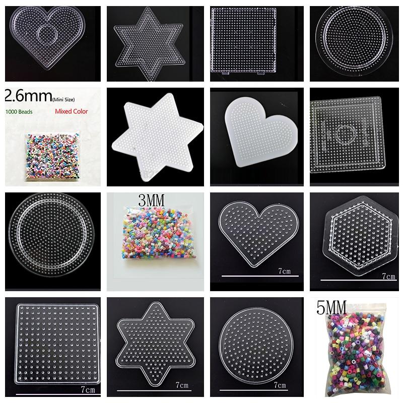 Бисер мини-Хама из ЭВА, смешанный цвет, 2,6 мм/3 мм/5 мм, ручная работа, мультипликационный материал, DIY Lover Fuse/Hama/Perler Beads Opp Bag, 1000
