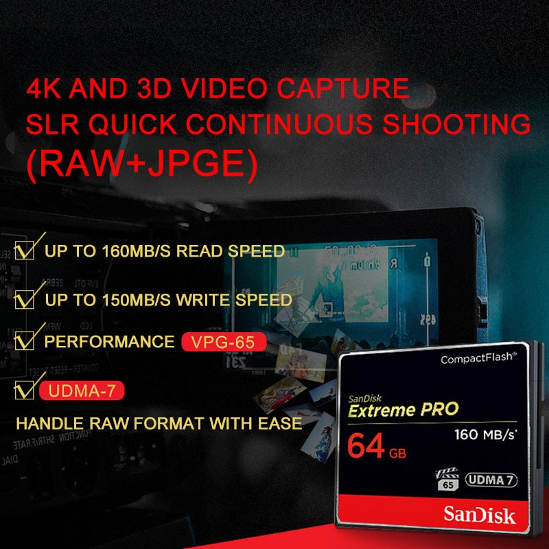 SanDisk Extreme Pro 128GB 32GB 64GB High Speed Up To 160MB/S Memory Card 100% Original Flash Card UDMA 7  For HD Camera CF Cards enlarge