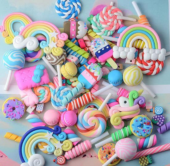 Baba encantos Lollipop galletas Macaron de arcilla suave accesorios para Slime cuentas haciendo suministros para artesanías de álbum de recortes para bricolaje