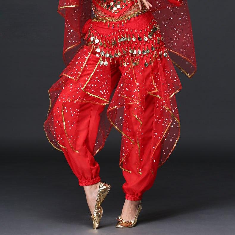 Hot Sale Wholesale Belly Dance Clothes Chiffon Bright Spot Dance Pants Girls Belly Dance Rotate Trou