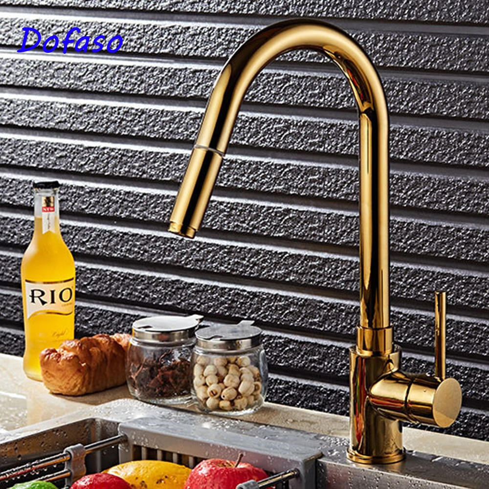 Dofaso Luxury kitchen sink  faucet Gold Kitchen Faucet Pull Out Tap Sprayer Swivel cold and hot water tap pull down luxury gold kitchen faucet pull out