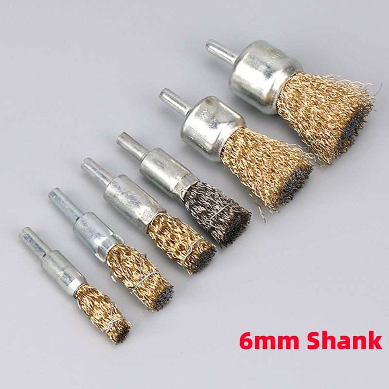 1 stks professionele 6mm schacht koper plating rvs draad wiel borstels grinder rotary tool drijfstang polijsten borstel