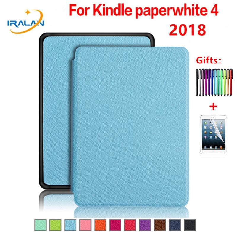 "¡Nuevo lanzamiento! funda para E-book de cuero PU para Amazon Kindle Paperwhite 4 6 ""2018 10th Generation 6,0 pulgadas e-reader Stand Cover + Film + pluma"