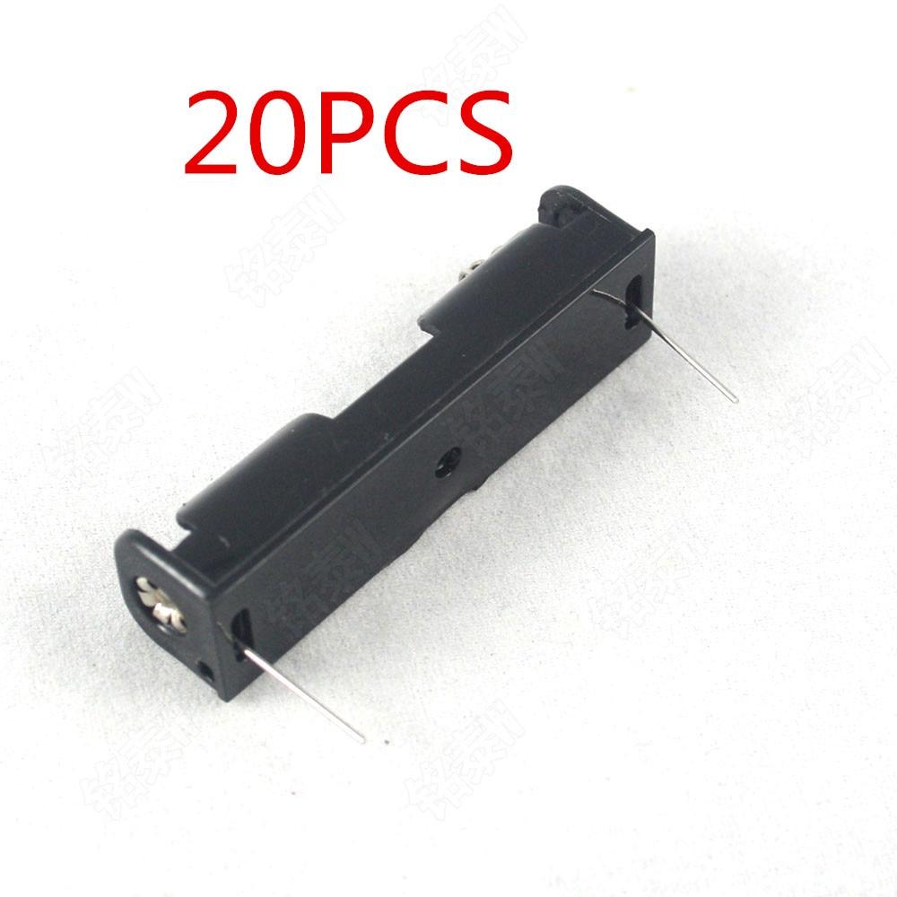 Пластиковый чехол для хранения батарей AAA, 20 шт., держатель в коробке с кабелем 6 дюймов для пайки батарей AAA 1 шт., черный цифровой разъем