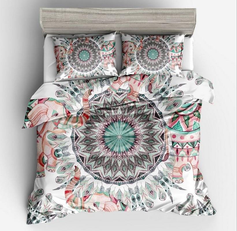 Fanaijia 3 قطعة طقم سرير البوهيمي الملكة حجم ماندالا ريشة طباعة حاف مجموعة غطاء مع المخدة AU سرير حجم كينج bedline